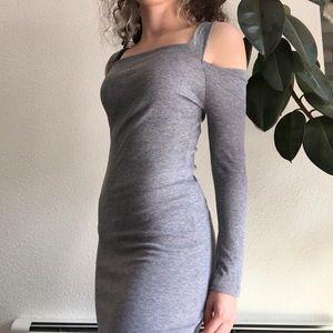 Dresses & Skirts - Grey Ribbed Cold Shoulder Dress